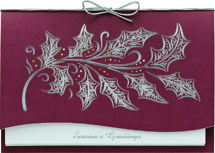 Etched Holly Laser Cut Holiday Cards